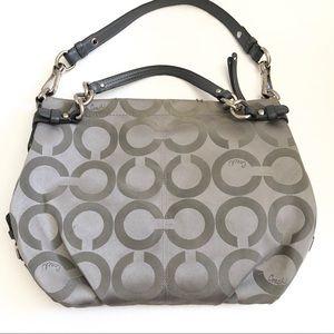 COACH gray / silver satin metallic logo hobo
